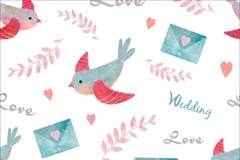 水彩绘小鸟和情书婚礼无缝背景矢量图
