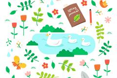 清新春天动物和花草元素设计矢量素材