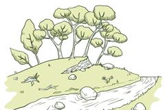 绿色手绘森林河流风景矢量素材