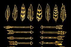 8款金色羽毛和16款箭矢量素材
