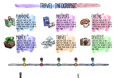 彩绘世界旅行信息图矢量素材