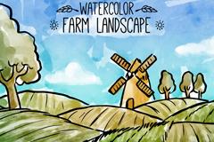 水彩绘农场田地风景矢量素材