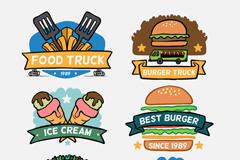 6款卡通快餐车食物标签矢量素材