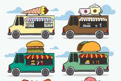 6款移动餐车设计矢量素材