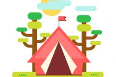 享受郊外野营帐篷矢量素材
