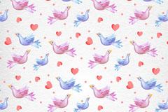 彩绘鸟和爱心无缝背景矢量素材