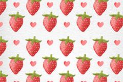 水彩绘草莓无缝背景矢量素材