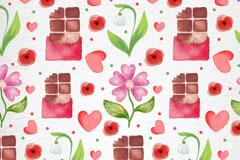 粉色花朵和巧克力无缝背景矢量图