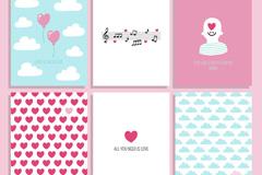 6款清新图案卡片设计矢量素材