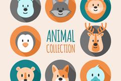 8款卡通动物头像矢量素材