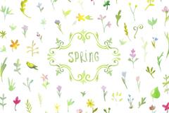 素雅春季花卉无缝背景矢量素材