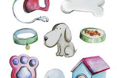 水彩绘宠物狗和7款宠物用品矢量图