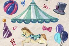 10款水彩绘马戏团元素矢量素材