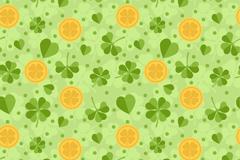 绿色四叶草和金币无缝背景矢量图