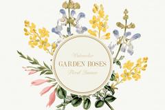 水彩绘花园花卉装饰标签矢量素材
