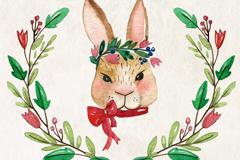 水彩绘兔子头像和花卉矢量素材