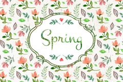 水彩春季花朵无缝背景矢量素材