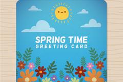 卡通春季时光祝福卡矢量素材
