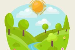 卡通春季绿树河流风景矢量素材