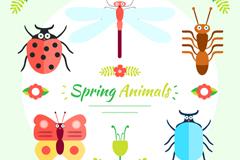 5种卡通春季昆虫矢量素材