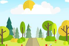 卡通树木和道路风景矢量素材