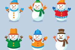 6款卡通笑脸雪人矢量素材