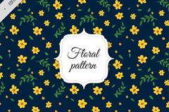深蓝背景黄色花朵无缝背景矢量素材