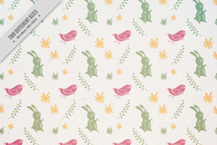 素雅兔子和小鸟无缝背景矢量图