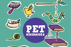 8款彩绘宠物用品矢量素材