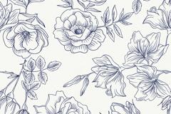 黑白手绘花枝无缝背景矢量素材