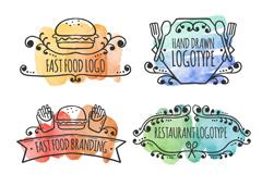 6款水彩绘餐饮标志矢量素材