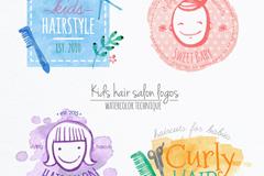 4款水彩绘儿童理发标志矢量图