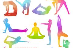 13款彩色瑜伽人物姿势剪影矢量图