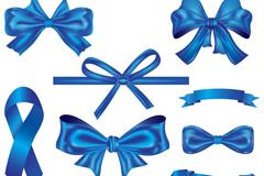 9款蓝色蝴蝶结和丝带矢量素材