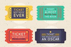 4款彩色电影票设计矢量素材