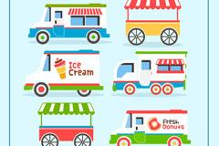 6款创意可移动餐车矢量素材