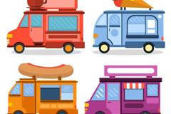 4种彩色快餐车矢量素材