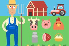 农夫和10款创意农场元素矢量素材