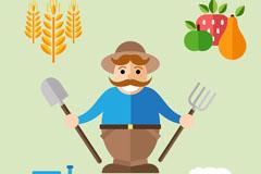 扁平化农夫和4款农场元素矢量图