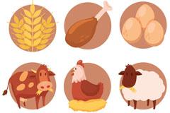 6款卡通农场产品元素矢量素材
