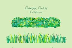 3款水彩绘花园草地矢量素材