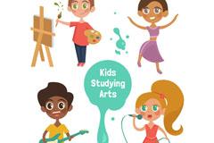 4款创意学习艺术的儿童矢量素材