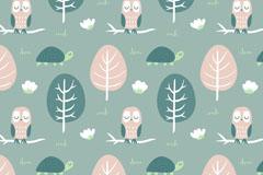 创意树木和猫头鹰无缝背景矢量图