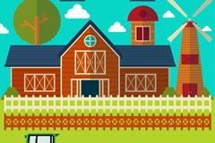 扁平化农场房屋和车辆元素矢量素材