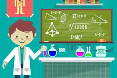 做科学实验的儿童和黑板矢量素材