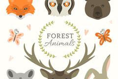 6款森林动物和蝴蝶设计矢量素材