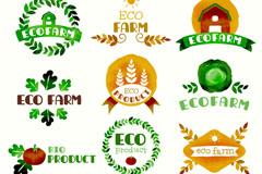 9款水彩绘生态农耕标志矢量素材