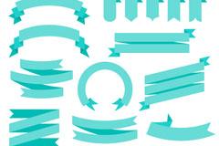 17款蓝色丝带条幅元素矢量素材