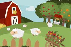 创意农场绵羊和庄园风景矢量素材