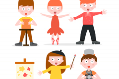 5款卡通学艺术的儿童矢量素材